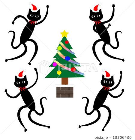 クリスマスツリー 踊る黒猫 セットのイラスト素材 18206430 Pixta