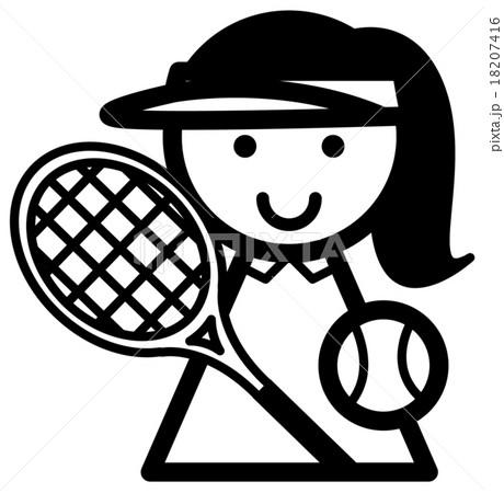 テニス 女の子 モノクロ  18207416