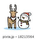 トナカイと雪だるま 18213564