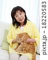 猫をかわいがるシニア 18220583