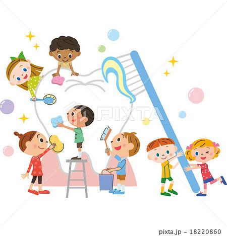 子供と歯磨き 18220860