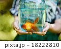 Jar with gold fish in hands 18222810