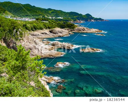 夏の足摺岬・鵜の岬展望台から見た松尾海岸 18236544