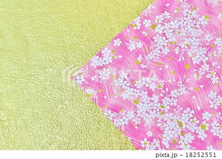 年賀状背景素材・和紙2種(桜柄、金凹凸和紙)の華やかな年賀壁紙・横位置ハガキ対応比 18252551