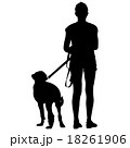 Silhouette of people and dog. Vector illustration. 18261906