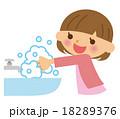手洗い 子供 女の子のイラスト 18289376
