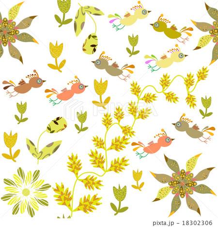 Vector cute seamless pattern with cartoon bird のイラスト素材 [18302306] - PIXTA