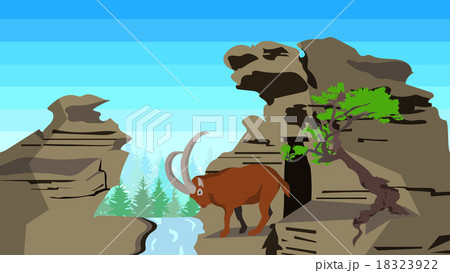 goat on rocks with tree seamless animals natureのイラスト素材