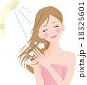 シャンプー 女性 洗い流すのイラスト 18325601