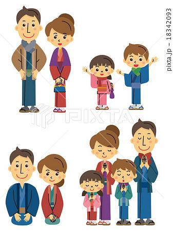 着物姿の家族【三頭身・シリーズ】 18342093