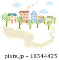 ほのぼの 街路樹 レンガ道のイラスト 18344425