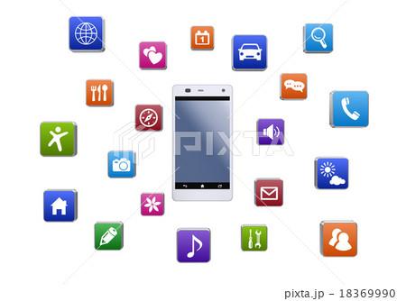 スマートフォンとアプリのイラスト素材 18369990 Pixta