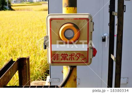 踏切横にある非常ボタン(踏切支障報知装置)の写真素材 [18380334 ...