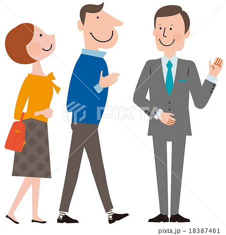 スマートなスーツの男性に案内される夫婦のイラスト素材 18387461 Pixta