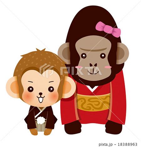 あいさつする猿とゴリラのカップル