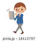 中学生 歩きスマホ スマートフォンのイラスト 18413797