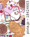 和菓子なイラスト素材 さるの紅白饅頭(和菓子多) 淡い鹿の子模様 はがきテンプレート 18424603