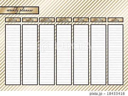 Weekly planner metallic goldのイラスト素材 [18433416] - PIXTA