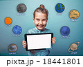 girl holding the tablet smiling planet of the 18441801
