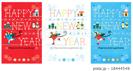 2016年申年年賀状用イラストカットデザイン素材「キラキラスケーター赤白青」HAPPYNEWYEAR 18444549