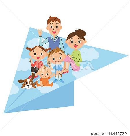 紙飛行機と親子  18452729