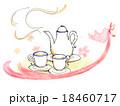 紅茶セットとピンクの鳥 18460717