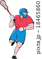 Lacrosse Player Crosse Stick Running  Cartoon 18465860