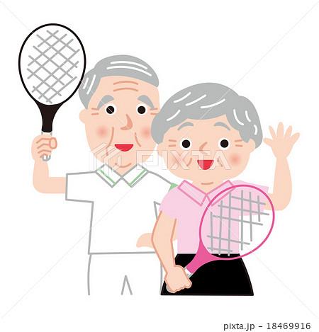 シニア テニス アクティブ 健康 笑顔 18469916
