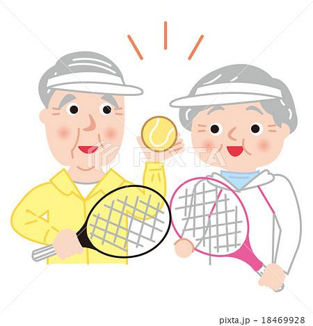 シニア テニス アクティブ 健康 笑顔 18469928