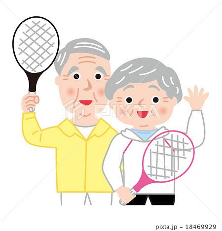 シニア テニス アクティブ 健康 笑顔 18469929