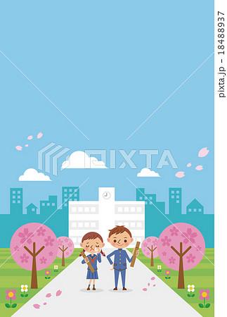 卒業式に校舎の前に立つ男女2人(中学生・高校生) 18488937
