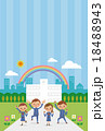 校舎の前でガッツポーツする中学生・高校生(学ラン・セーラー服男女4人ストライプ) 18488943