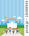 校舎の前でガッツポーツする中学生・高校生(ブレザー男女4人ストライプ) 18488944