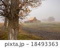 Old barn in fog 18493363