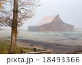 Old barn in fog 18493366