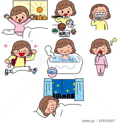 子供 小学生 女子 1日 過ごし方 起きる 寝るのイラスト素材 [18505807 ...