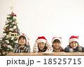 サンタ帽を被った子供達とクリスマスツリー 18525715