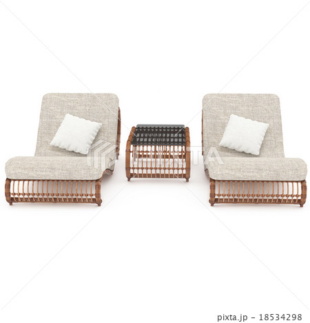 Deck chairs rattan table with front viewのイラスト素材 [18534298] - PIXTA