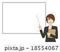 女性 指し棒 ホワイトボードのイラスト 18554067