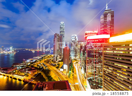 Office building in Hong Kong at night