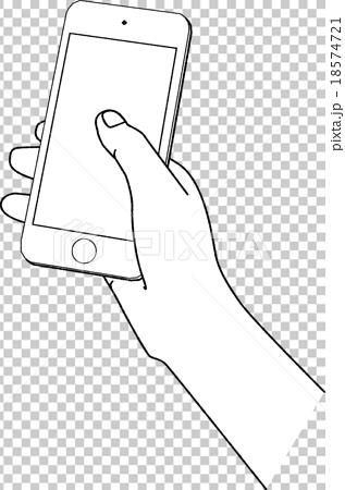 スマホを持つ手クレヨン風のイラスト素材 18574721 Pixta