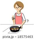 女性 料理 台所のイラスト 18575463