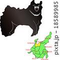 地図の動物 中部 富山 ツキノワグマ 18589985