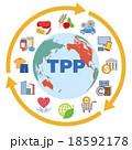 TPP(環太平洋パートナーシップ協定)イメージと商品やサービスアイコン 18592178