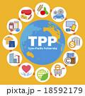 TPP(環太平洋パートナーシップ協定)イメージと商品やサービスアイコン 18592179