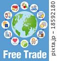 自由貿易イメージと商品やサービスアイコン 18592180