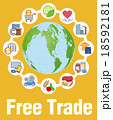 自由貿易イメージと商品やサービスアイコン 18592181
