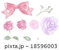 花、リボン、パールのイラスト 18596003