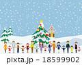 冬 手をつなぐ 人々 18599902