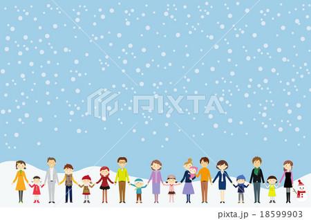 冬 手をつなぐ 人々 18599903